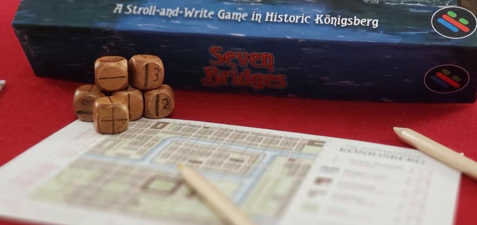 Seven Bridges wooden dice