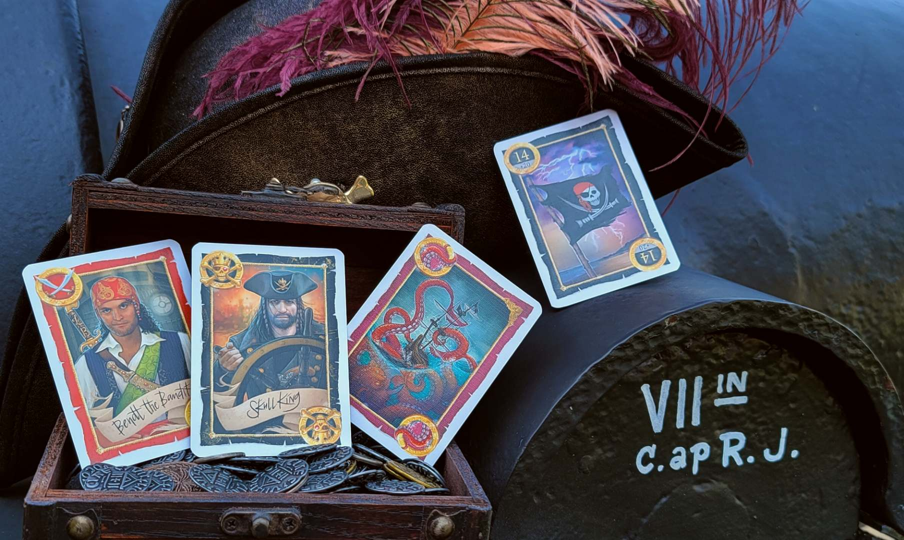 Skull King cards in a treasure chest.